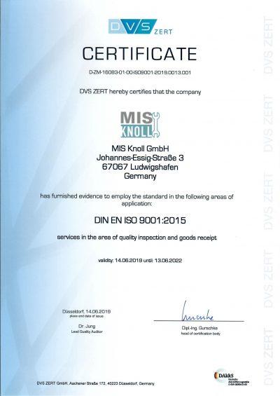 DIN EN ISO 9001:2015-Zertifizierung